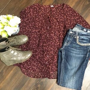 ❤️3 for $20- Old Navy Floral Blouse- size Large